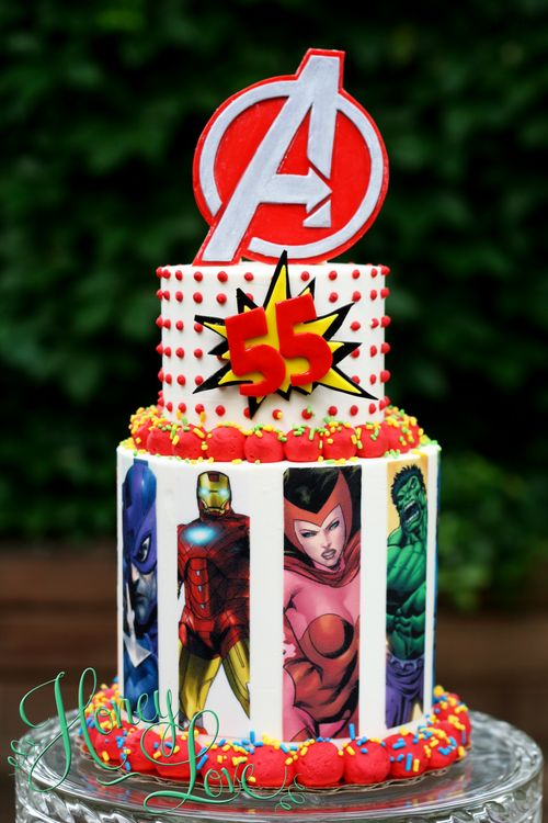 Avengers comic book cake. Ironman, hulk, captain america. Visit HoneyLove at www.HoneyLoveCakery.com and follow on FB, twitter, and instagram.