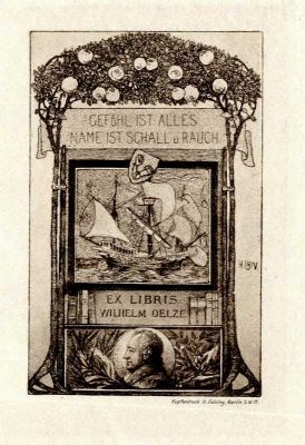 Bookplate by Heinrich Johann Vogeler for Wilhelm Oelze, 1900c.