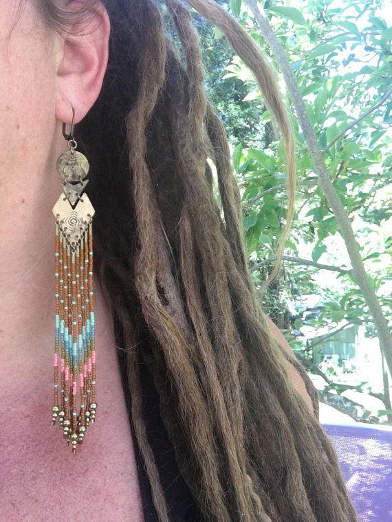 Maya... Messing en zaad bead oorbellen handgemaakt hand