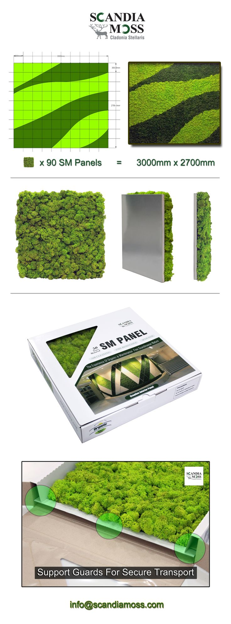 Want to go big with your moss?  How about your own custom design?  Customized designs are easy with the Scandia Moss SM Panel.