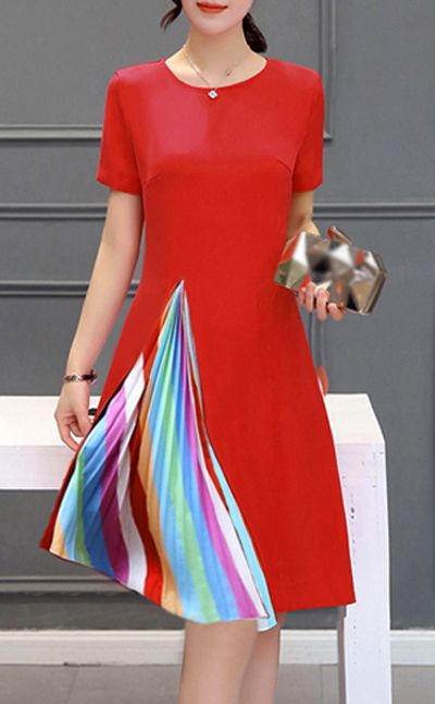 Little Red A Line Dress With Rainbow Pleated Side Detail.