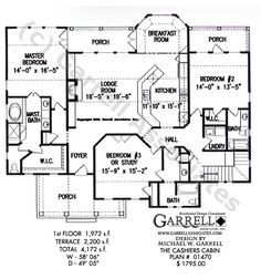 Cashiers Cabin House Plan 01470, 1st Floor Plan, Craftsman Style House Plans, Wheelchair Accessible House Plans