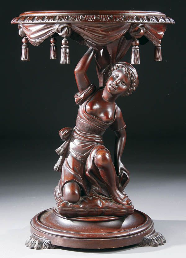 A Victorian Carved Mahogany Figural Parlor Table, 19th century.