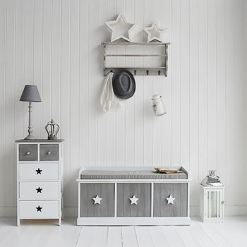 Grey and white stars Cottage hall and living room furniture. The White Lighthouse offers a range of furniture and accessories with a combination of Coastal, Scandi, Danish, French, Shabby Chic and New England styles