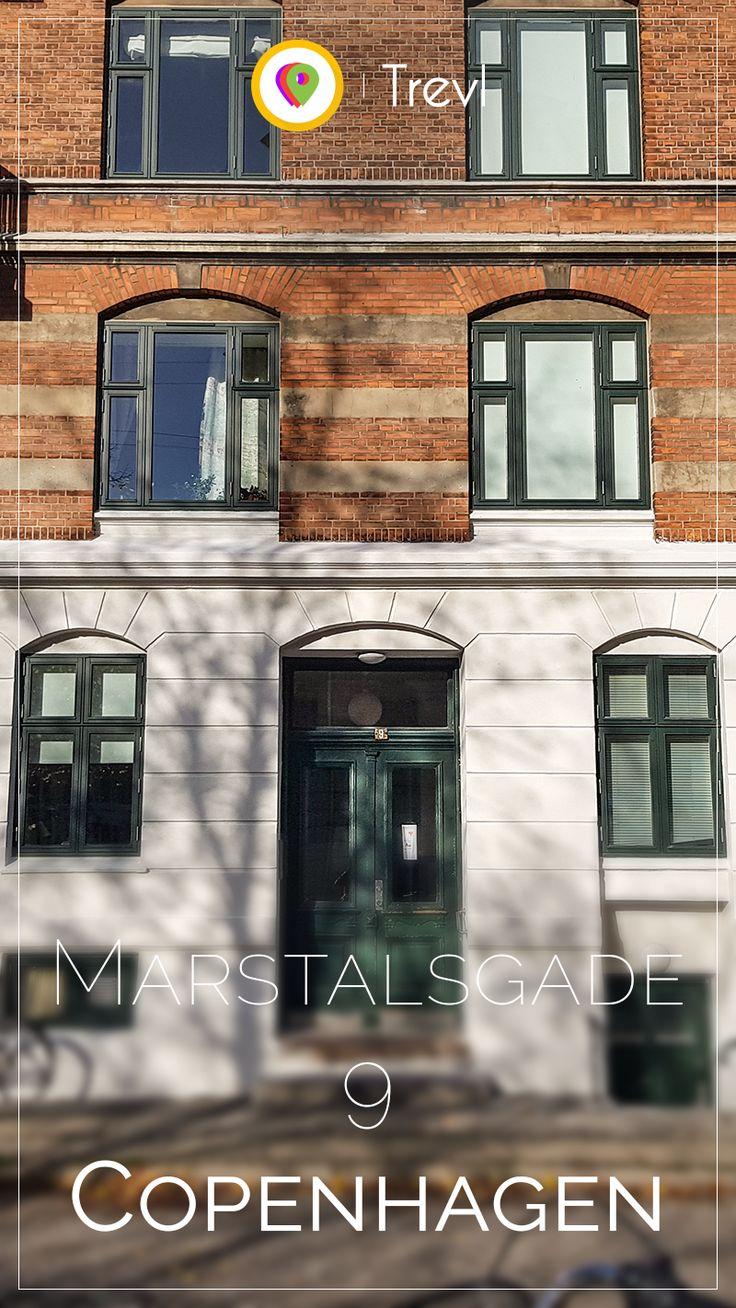 Elegant historical front door on Marstalsgade in Copenhagen, Denmark