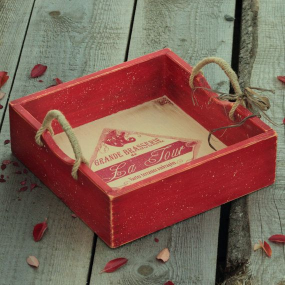 Rustic Wood Tray, Bed Tray, Tray With Handles, Wood Serving Tray, Decoupage Tray, Red Distressed Tray, Wood Industrial Tray, Coffee Table Tray,  Cottage Shabby Chic Tray.  ... #etsy