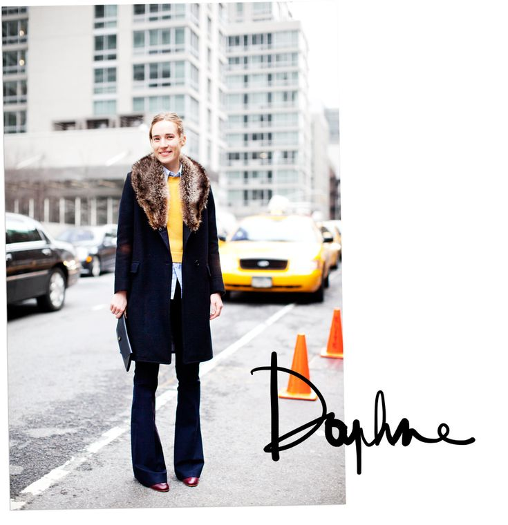 Love that winter look on Daphne Javitch in NY
