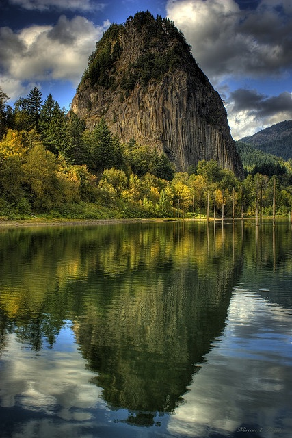 Beacon Rock State Park, Washington, in the Columbia River Gorge National Scenic Area, on State Route 14 about 35 miles east of Vancouver, Washington
