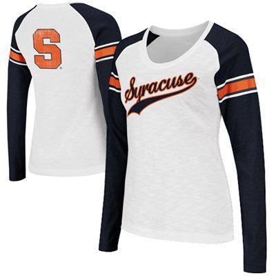 Syracuse Orange Ladies Sycamore Raglan Long Sleeve T-Shirt - White/Navy Blue
