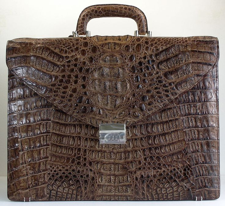 Brown crocodile leather briefcase #crocodile #exoticleather