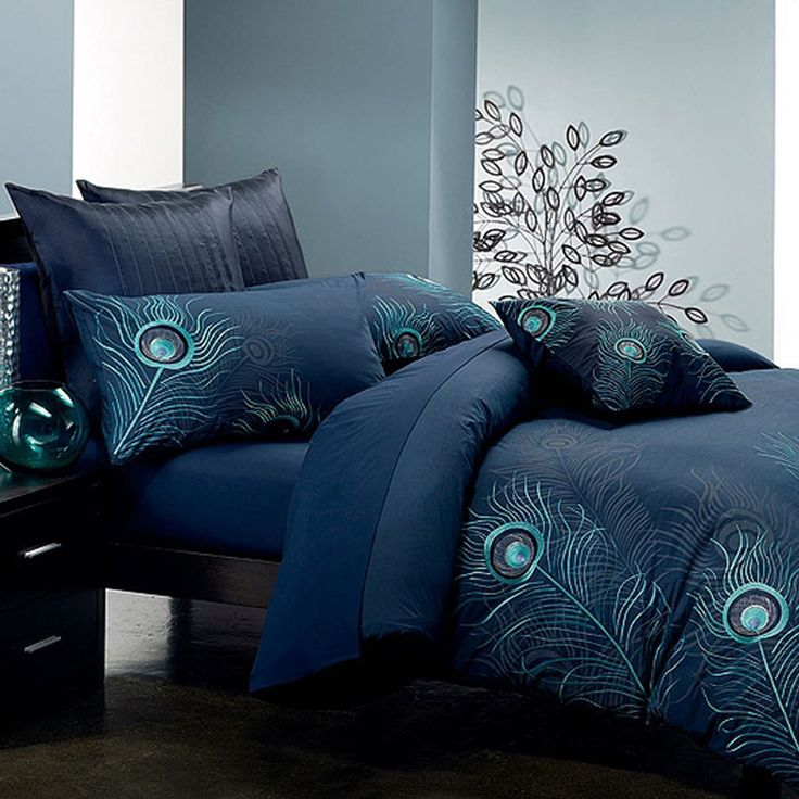 Peacock Feather Duvet Cover Set In Navy Beyond The Rack