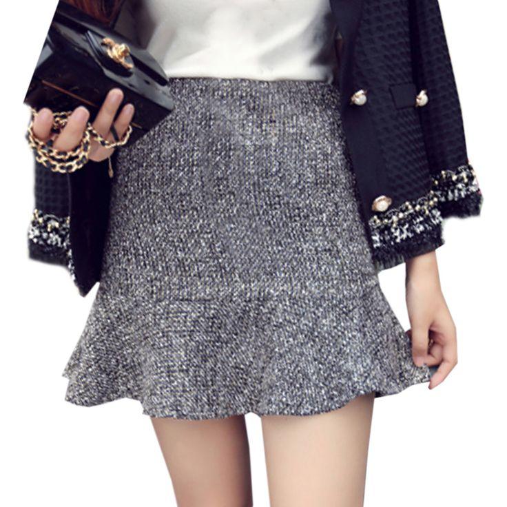 woolen Skirt For Winter Mini Skirt For Autumn Fungus skirt mini skirt Gray skirt Thick Woolen Princess Palace For Girl Short Skirts (SD10)