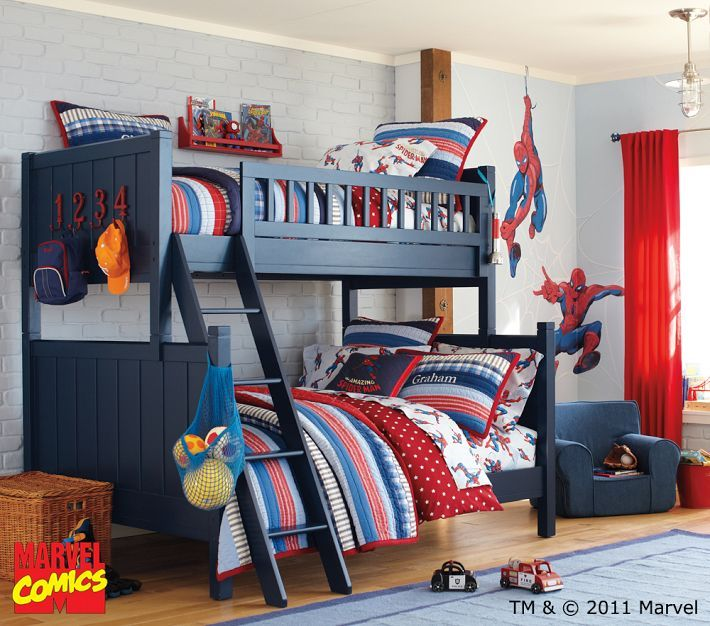 Love These Blue Bunk Beds  Iu0027d Love To Find Something Similar To Go With  The Madras Bedding But The Pbk Bunkbeds Are Sooo Pricey!