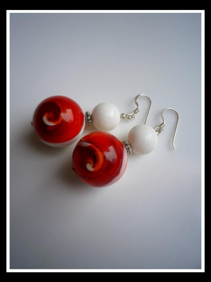 Handmade Red Agate Gemstone Earrings http://www.facebook.com/ZadiaDesigns