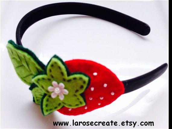 Strawberry Headband  Girl Headband Felt strawberry by LaRoseCreate, $8.50