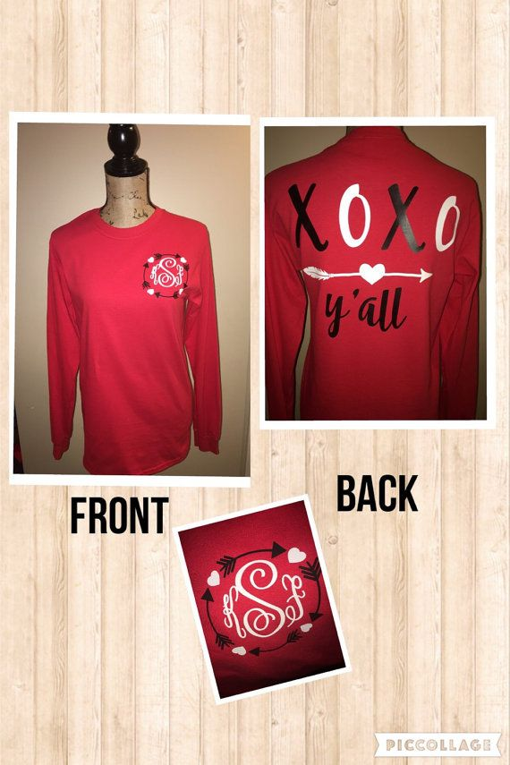 Really cute Monogrammed Valentines Day Shirt! Monogram is on the front, XOXO Yall on the back. Adult long sleeve or short sleeve available. Please note these are unisex shirts so women may want to order a size down. Please leave in notes to me: Size If you want short sleeve or long sleeve Monogram in the order that you would like it printed. Most people do first LAST middle Thank you and feel free to ask me questions
