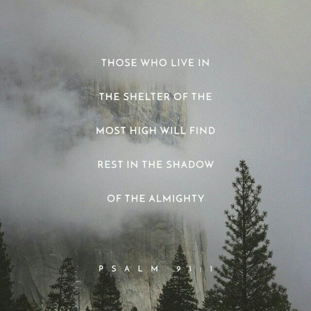Psalms He who dwells in the shelter of the Most High Will abide in the shadow of the Almighty.