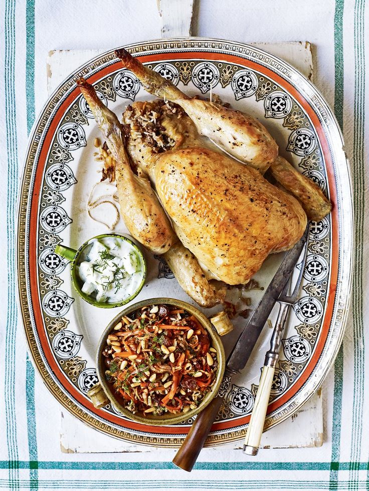 Debbie Major serves her Lebanese roast chicken with steamed spinach, a buttery rice pilaf and cacik – the Turkish equivalent of tzatziki.