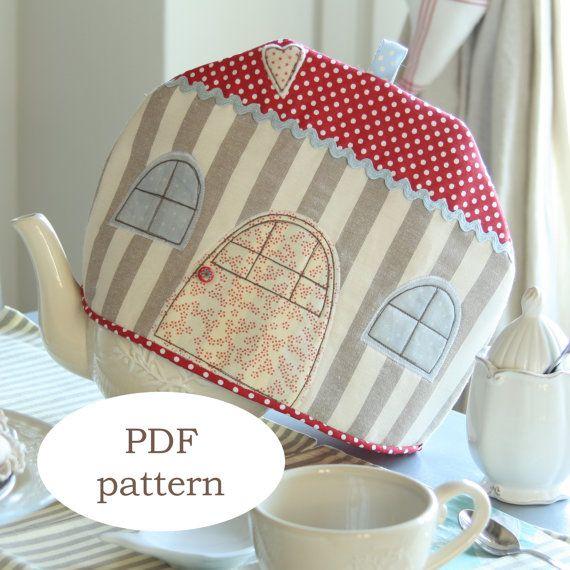 Patrón PDF: patrón de té acogedora casa té acogedor - patrón tea cosy - tela