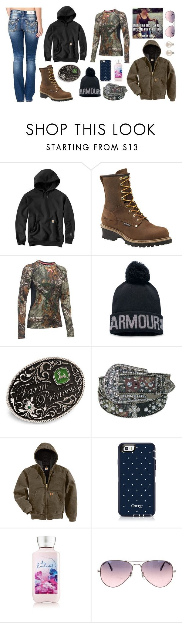"""Getting Cold Out There"" by im-a-jeans-and-boots-kinda-girl ❤ liked on Polyvore featuring Carhartt, Carolina, Under Armour, John Deere, Ray-Ban and Forzieri"