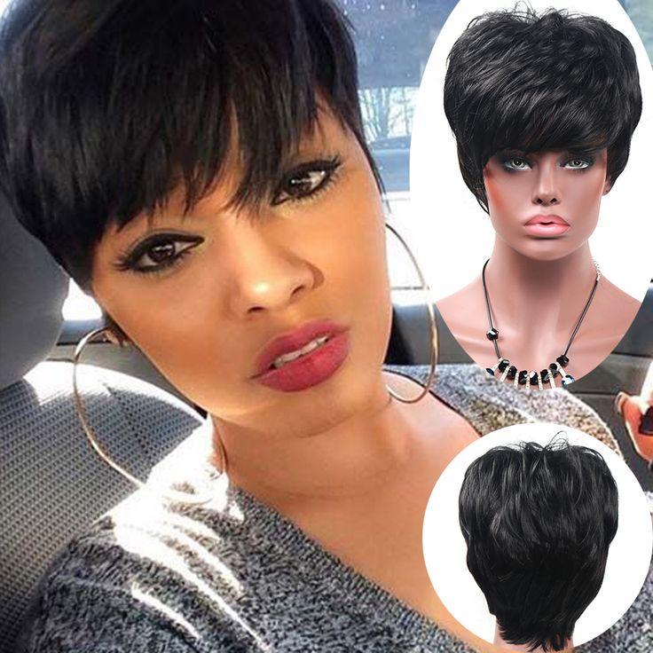 短いピクシーカットかつら短い合成かつら黒人女性アフリカ系アメリカ人黒髪のかつらウィッグ合成女性ウィッグ