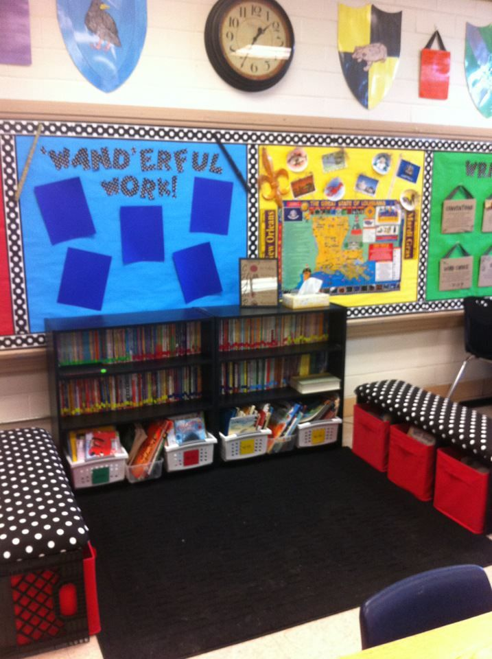 Classroom Reading Centers | Reading Center - Pinterest idea for benches. Milk crates connected by ...