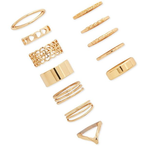 Forever 21 Mixed Midi Ring Set (€5,45) ❤ liked on Polyvore featuring jewelry, rings, gold, gold mid finger rings, twisted band ring, forever 21 jewelry, yellow gold filigree ring and twist ring