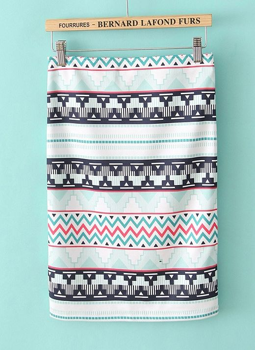 White Geometric Print Knee Length Skirt: this is the first Aztec print I've liked!