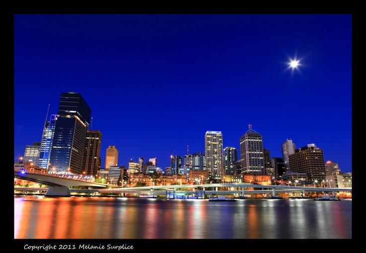 Brisbane under full moon