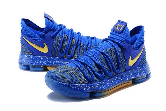 in stock 585e6 d0a99 Kevin Durant Nike KD 10 Celebration Racer Blue Metallic Gold