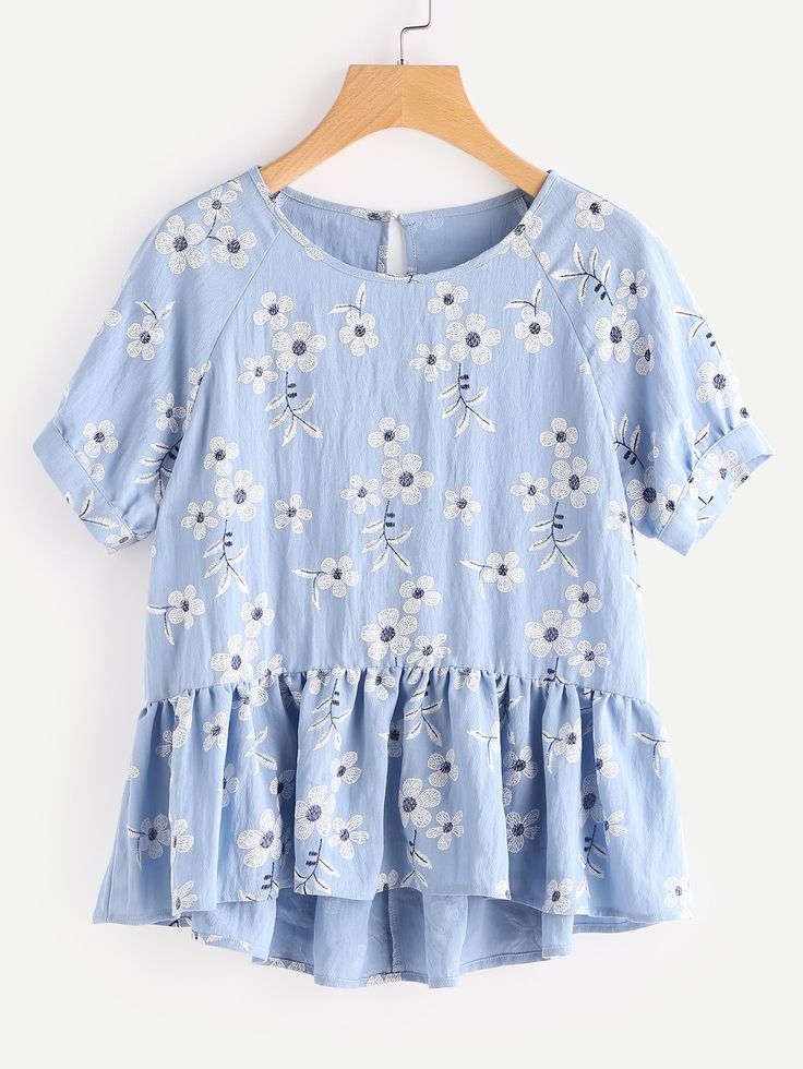 Botanical Print Raglan Sleeve Hi Lo Smock Top from SheIn {this is an affiliate link}