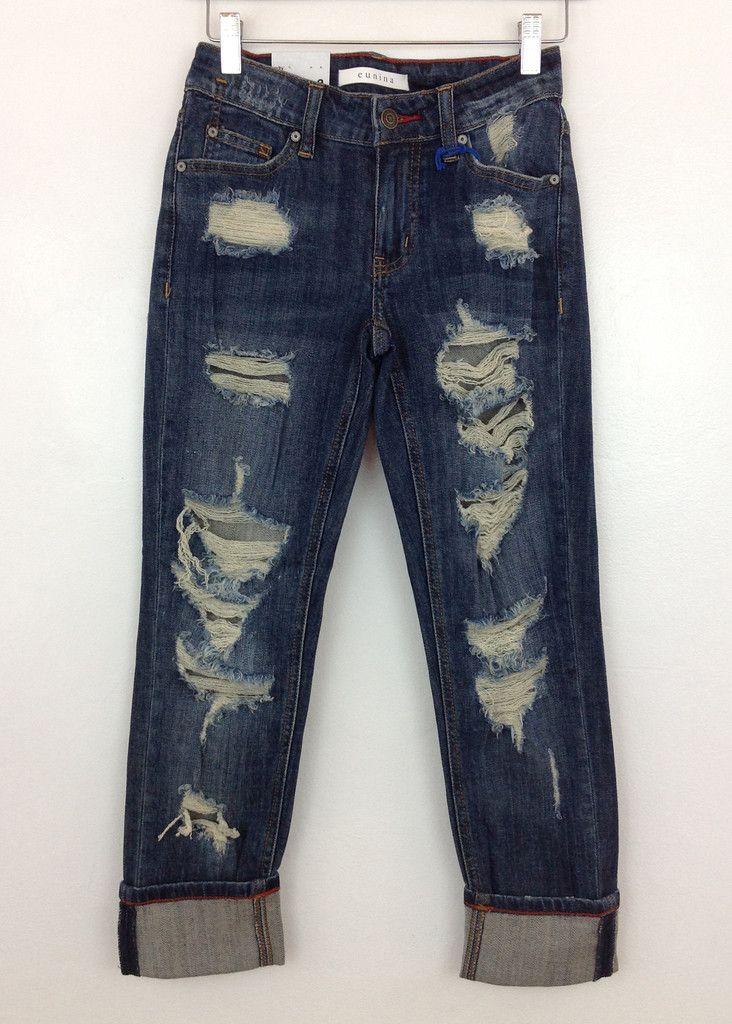 boyfriend dark wash distressed jeans