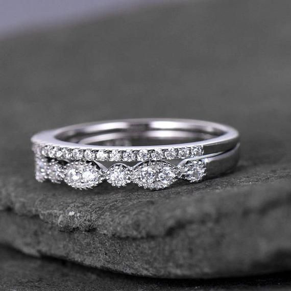 Sterling Silver Ring Set Cubic Zirconia Wedding Band Cz Etsy In 2020 Cubic Zirconia Wedding Bands Silver Ring Set Cubic Zirconia Rings Sterling Silver