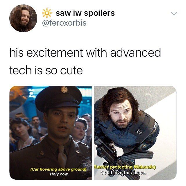 So Bucky was the little nerd while Steve was going around trying to fight everyo…