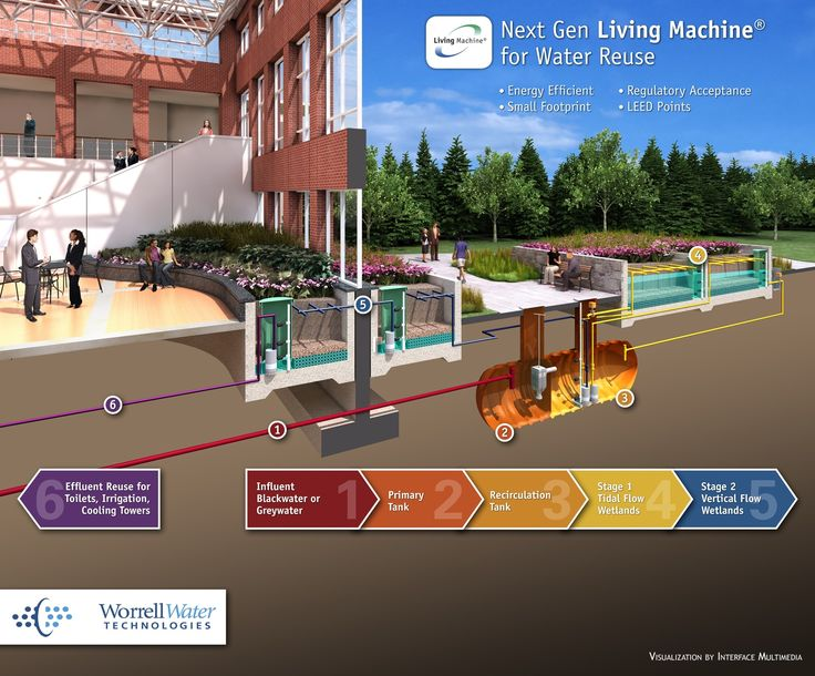 LIVING MACHINE: wetlands model to treat the water without generating troublesome biowaste that needs disposal.