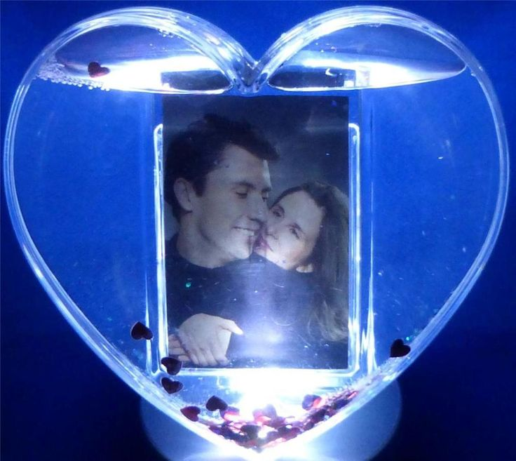 "Heart Photo Snow Globe Add Picture Red Glitter 5"" x 5"" Gift Personalize Mom Day"