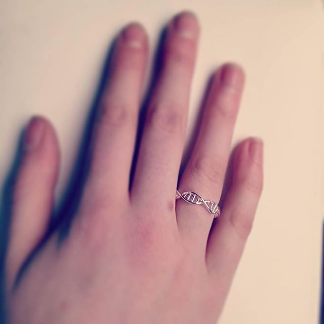 #Repost @joliephilia with our DNA ring  #staynerdy #chemistry #science  New ring  #DNA #doublehelix #biology #geek #moleculestore