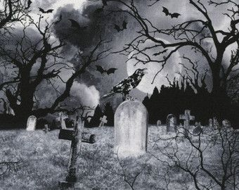Graveyard Halloween Wicked Black Timeless Treasures Fabric 1 yard