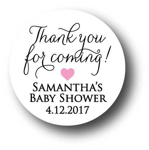 30 Baby Shower Personalized Stickers - Thank you for coming! with heart #AListInvites #BabyShower
