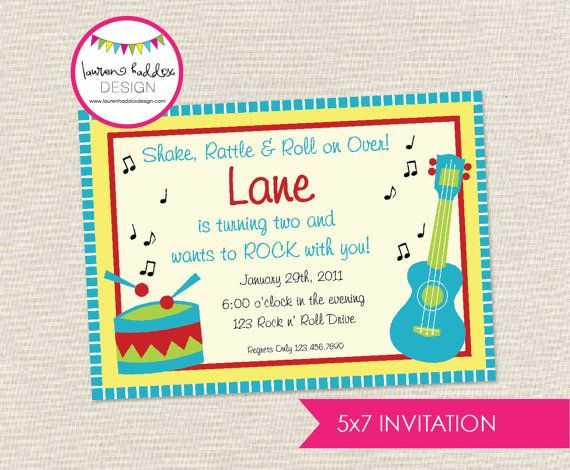 Music Birthday Party Invitation by LaurenHaddoxDesign on Etsy