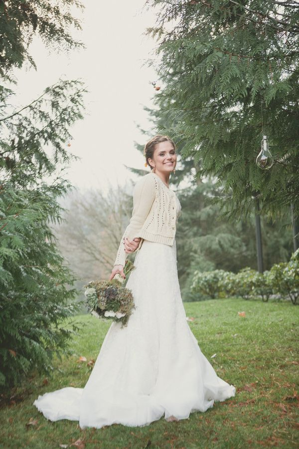 The look wit the cardigan and the dress together! Cozy Portland Wedding Inspiration