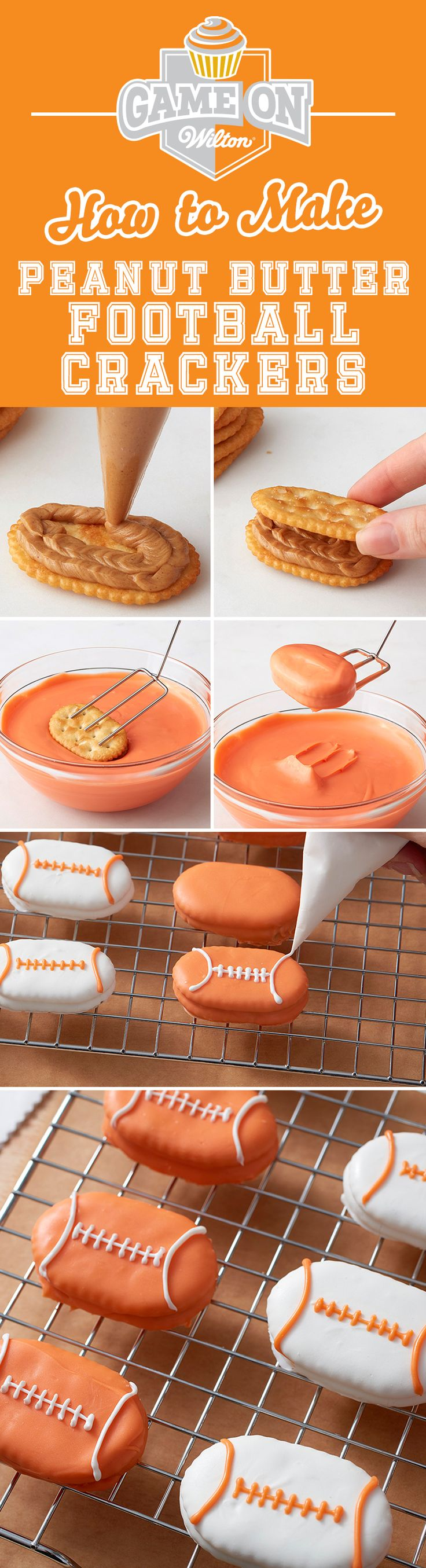 How to Make Peanut Butter Football Crackers - Melt Peanut Butter Candy Melts Candy and sandwich between two crackers. Then dip in melted Orange or White Candy Melts Candy and pipe lines to make it look like a football ball! These little sandwiches make a great snack for youth football teams and fans, or whenever you're watching the big game!