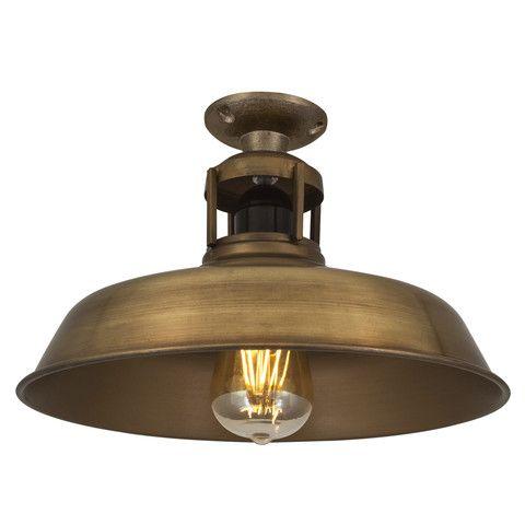 Vintage Industrial Barn Slotted Flush Mount Ceiling Light - Brass £89