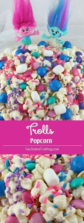 Trolls Popcorn -Trolls love to sing, dance, hug and eat this sweet, salty, delicious popcorn that is chock full of crunchy chocolate candy and colorful sprinkles. This fun popcorn treat would be a fun dessert for a Trolls Movie Night, a Trolls Birthday Party or just a random Saturday night. Pin this easy to make snack for later and follow us for more fun Popcorn recipe ideas.
