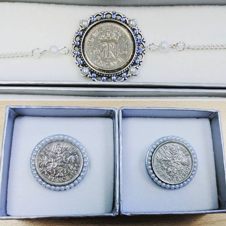 Three more #luckysixpence designs that were posted out today. The #anklet was a special request 1945 coin as was the 1966 #shoeclip Don't forget your #sixpenceforyourshoe #somethingold #somethingblue