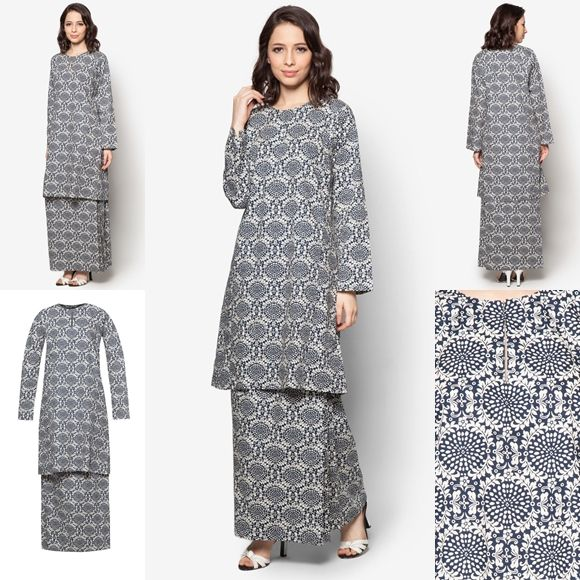 Baju Kurung Cotton Warna Black Cream - Baju Raya 2016