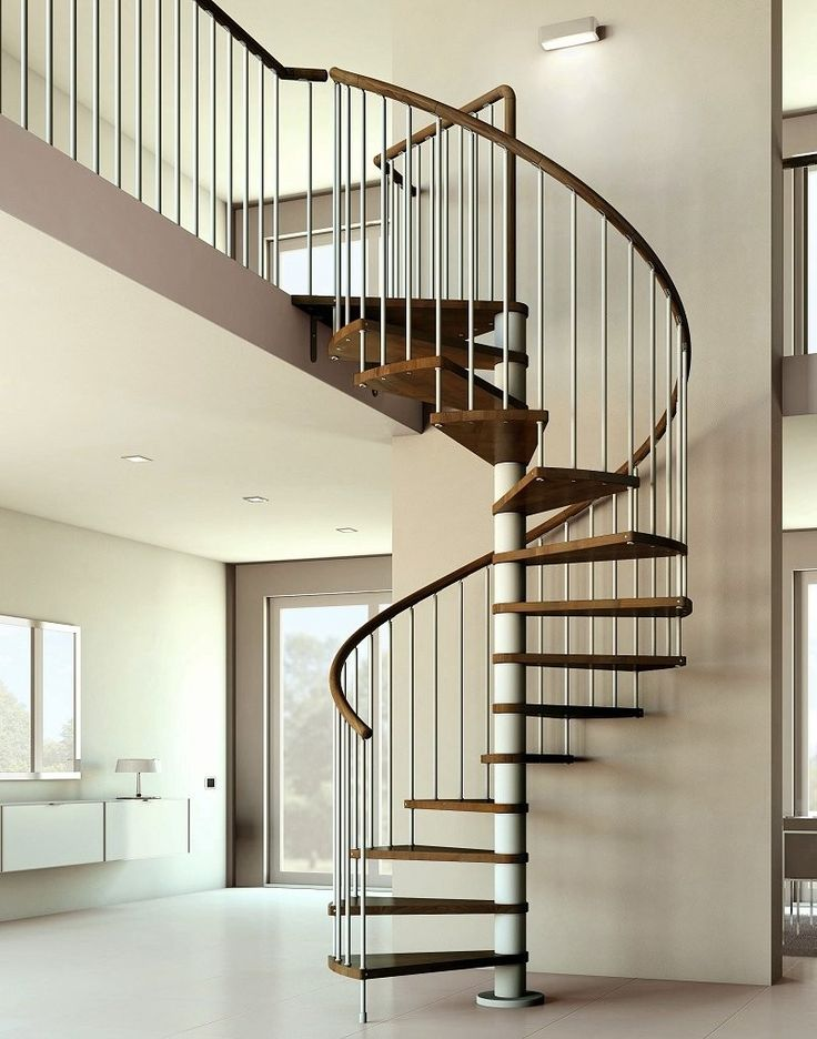 Home Design Splendid Wooden Spiral Staircase Design With Spiral Staircase  Dark Walnut And White Wall Wooden Stair Also Nice White Floors Innovative  Interior ...