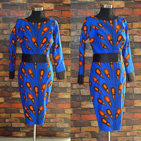 African print knee length dress african clothing by HouseOfIzzi