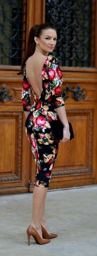 Black Multi Floral Midi Dress