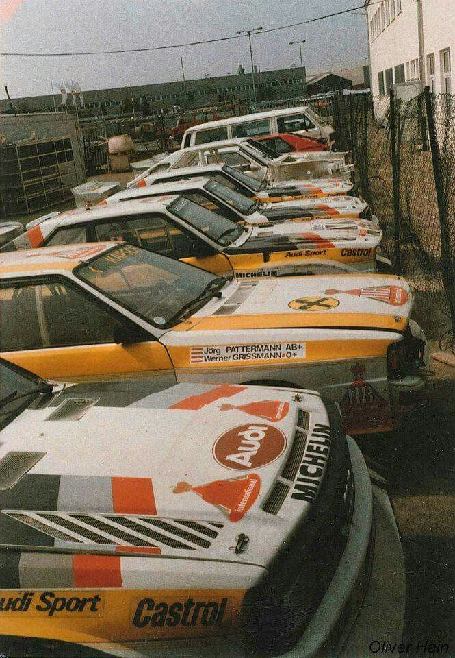 Audi Quattro, Quattro's in a supermarket car park? Not quite, it's Audi Sports car park who ironically were based in a converted supermarket...